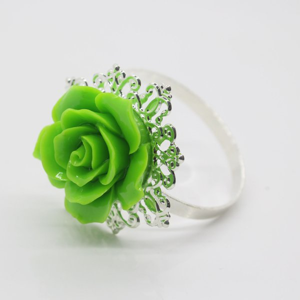 2017 10pcs/lot Green Rose Decorative Silver Napkin Ring Serviette Holder For Wedding Party Dinner Table Decoration Accessories