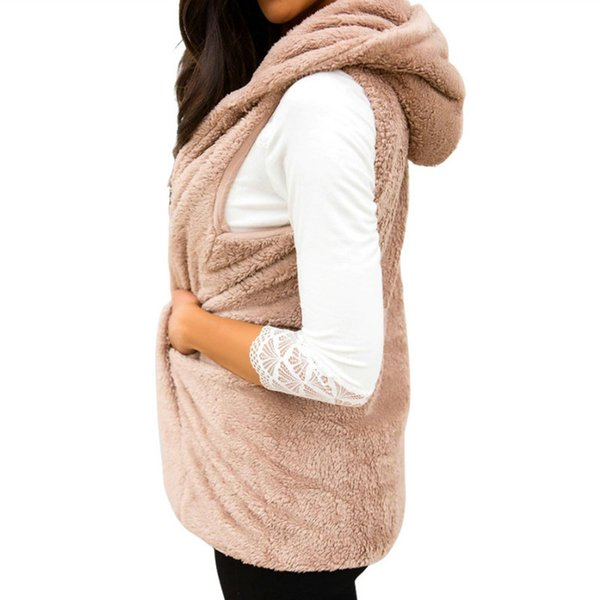 Women Winter Fleece Retro Coat Loose Casual Warm Outerwear Solid Open Stitch Cardigant Hooded Harajuku Sleeveless Top New M0154