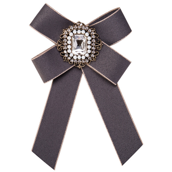 4 Colors Bow Crystal Brooches Pins For Women Men - Canvas Fabric Alloy Bowknot Tie Necktie Corsage Brooch Clothing Dress Accessories