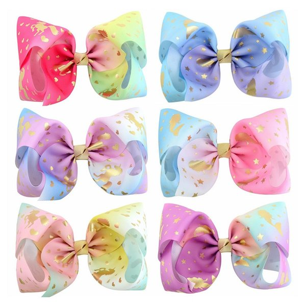 12Pcs 8 Inch Unicorn Mermaid Heart Star Print Ribbon Hair Bows With Clip Girl Hair Clips Hairpin Barrettes Beautiful HuiLin C169