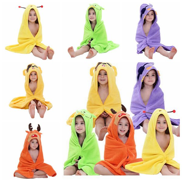 5 Color Kids Baby Bathrobe Cotton Baby Cute Shawl Colorful Hooded Animal Pajamas Child Towel EEA189 50pcs