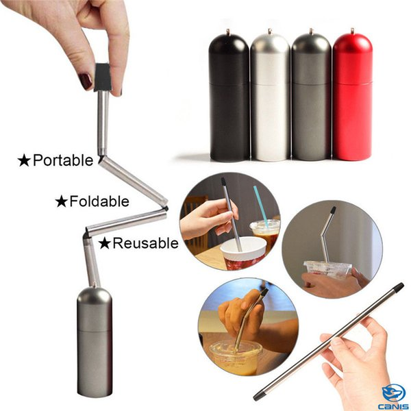 Collapsible Reusable Foldable Stainless Steel Final Straw Outdoor Portable Water Bottle Cup Straws