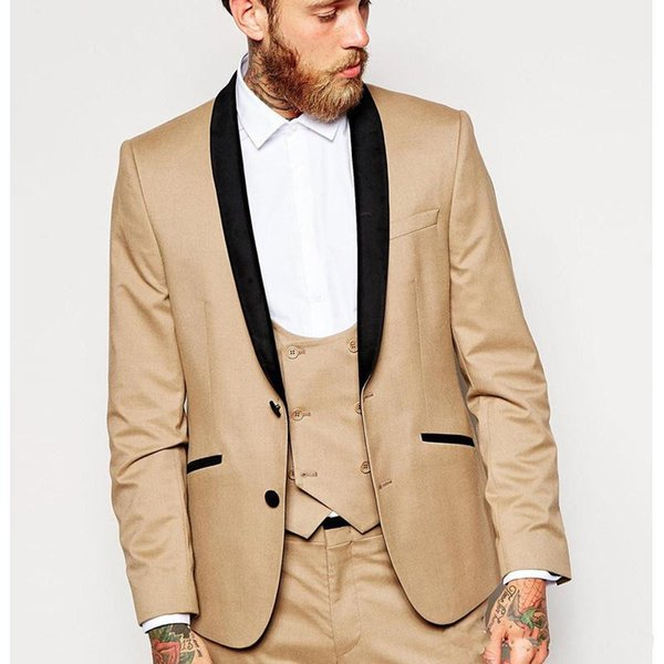 2018 New Design Brown Men Wedding Suits Cheap Three Piece Groomsmen Wear Black Lapel Wedding Groom Tuxedos (Jacket+Pants+Vest)