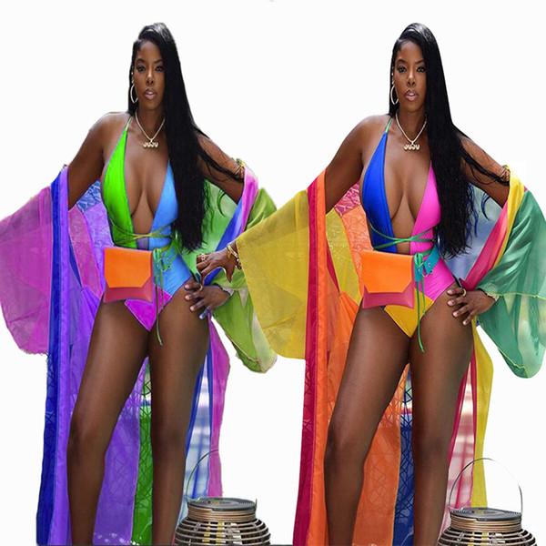 2018 New Bohemian Style Brand New Fashion Donna 2 pezzi Set Arcobaleno Manica lunga X-Long Outwear Tute Chiffon Set Fasciatura Bikini Set S-XL