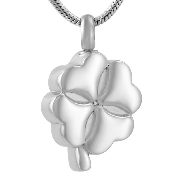 DJX9557 Silver Tone 316L Stainless Steel Four Leaf Clover Cremation Jewelry Necklace To Hold Human Keepsake Ashes Urn Pendant