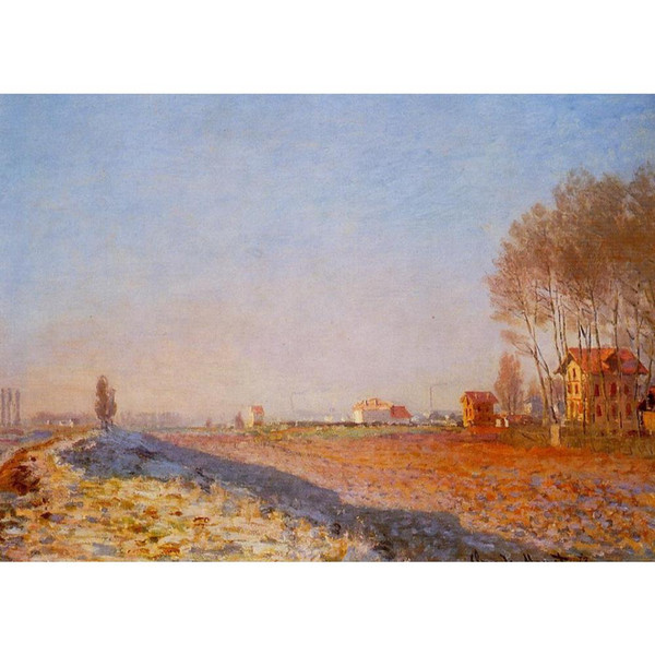 Dipinti a mano dipinti a olio su tela Claude Monet La pianura di Colombes, White Frost arte moderna Paesaggio decorazione murale
