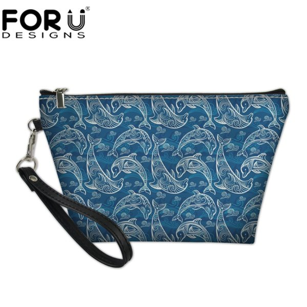 wholesale Dolphin Printing Portable Women Makeup Bags Cosmetics Bag Travel Cute Make Up Case Evening Clutch Bag Cosmetic Pouch