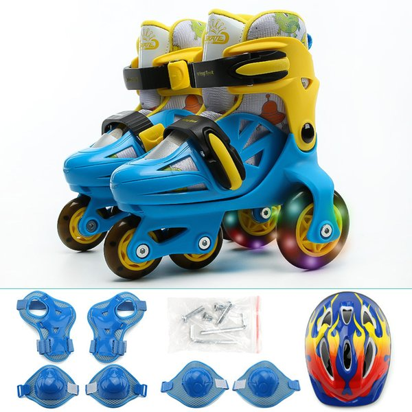 Grntamn Children's suit flash double row roller skates Helmet Protective Gear Sets Knee Protector Adjustable Skate Shoes