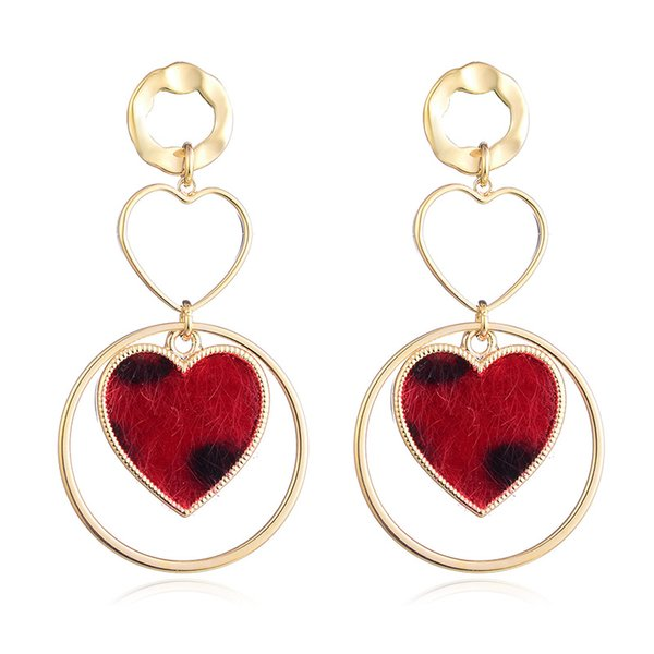 Heart Earrings for women Copper and Flocking Material Gold Red Color Indian Jewelry boucle d'oreille femme 2018 Drop Earrings