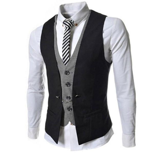 New Arrival Men Vest Spring Autumn Fashion Fake Two-Pieces Suit Vest Brand Black White Red Hit Color Waistcoat Men