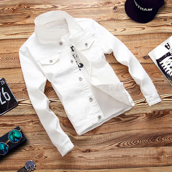 Classic Brand Men Long-sleeved Denim Jacket Pure Color Slim Elegant Mens Autumn and Winter Casual Coat