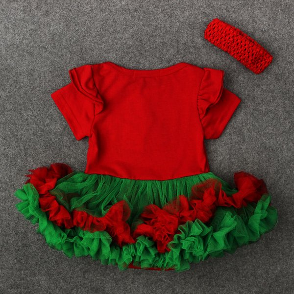 Headband Party Xmas Christmas Dress Costume Xmas 2017 Baby Outfit Tutu  Clothes Lovely Santa New Girls 2Pcs