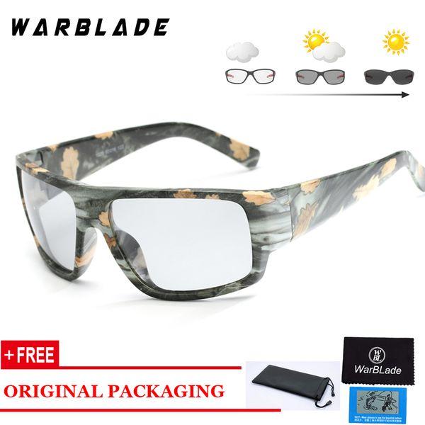 Óculos de Sol de Condução Ao Ar Livre Dos Homens de Pesca de pesca Lente Óculos de Sol HD Polarizada Photochromic WarBLade
