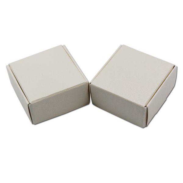 5.5 * 5.5 * 2.5 cm Caixa de Embalagem de Presente de Festa de Papel Kraft Branco Para a Jóia Dos Doces DIY Sabonete Artesanal Padaria Bolo Biscoito Caixa de Chocolate frete grátis