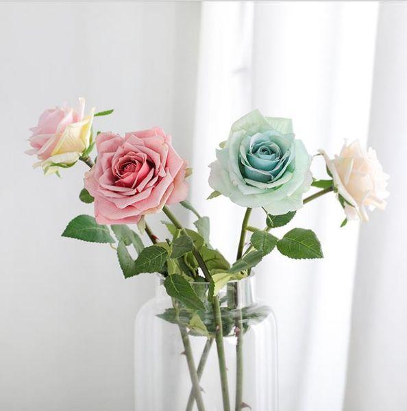 Valentine Day Single Soft Romantic Artificial Rose Flowers for Wedding Centerpieces Simulation Rose Home Garden Marketing Closet Decoration