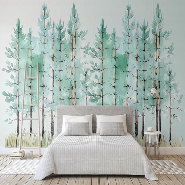 Compre Custom 3d Photo Wallpaper Mural Modern Mint Green Fresh Wood Nordic Tv Background Wall Painting Wallpaper Dormitorio Living Room Decor A 4408