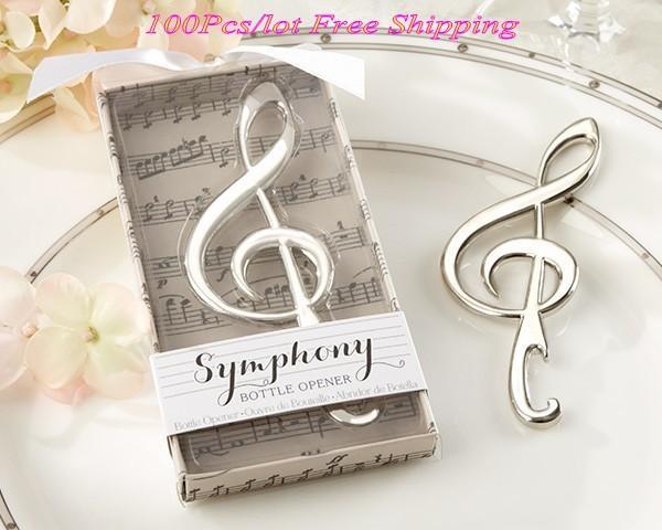 """(100 Pieces/Lot) Unique Wedding souvenirs """"Symphony"""" Chrome Music Note Bottle Opener wedding gift for Bridal Shower Favors"""