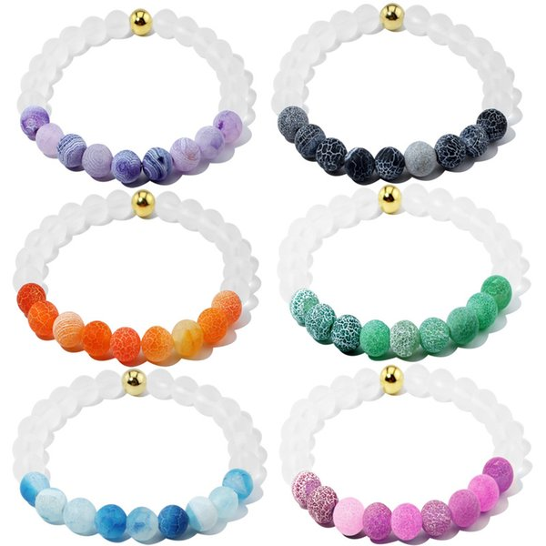 Gold Bead Fashion Design Different Colors Weathering White Frosted Glass Beads Bracelet 6 Colors Christmas Gift Free DHL G231S