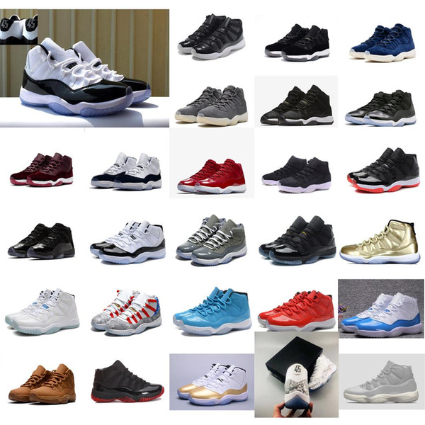 Cheap new men Jumpman 11 XI basketball shoes 11s Concord 45 black blue prom night Gold Red j11 air flights sneakers boots for sale with box
