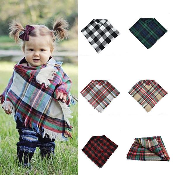 Bebek Kız Kış Ekose pelerin Çocuklar kafes şal eşarp panço kaşmir Pelerinler Dış Giyim Çocuk Mont Ceketler Giyim 5 renkler C5084