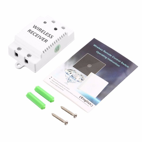 Wireless Remote Control Touch Switch Wall Light Switch Tempering Glass Panel + Wireless Receiver LED Smart Home