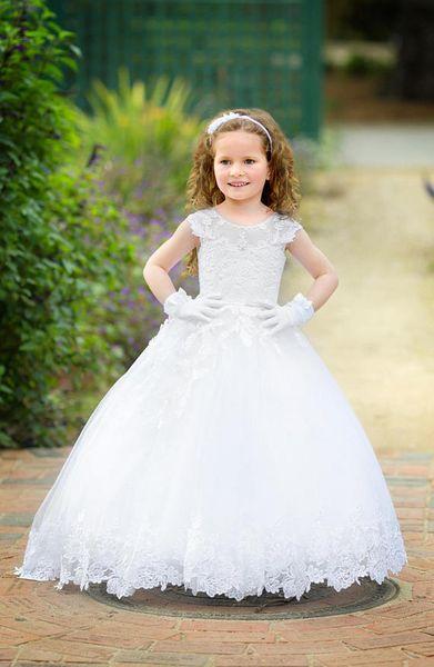 Ivory Flower Girl Dress For Wedding Lace Elegant Formal Party Birthday Holiday Girls Dress Pattern Toddler xk63