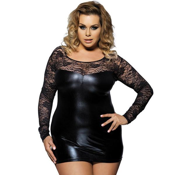 Negro lencería sexy mujeres pu cuero más el tamaño 6xl lencería sexy hot encaje erótico manga larga apretados clubes nocturnos vestido ropa del sexo d18110701