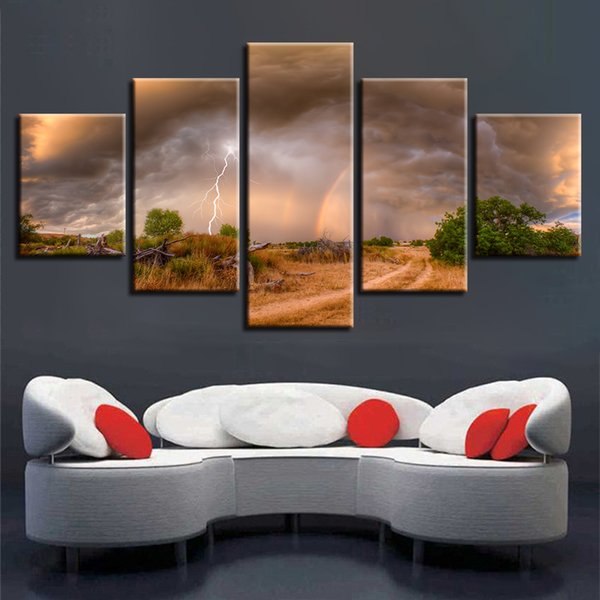 Pictures Modular Canvas Poster 5 Pieces Tree Lightning Rainbow Scenery Painting Home Decor Wall Art Framework Modern HD Printing