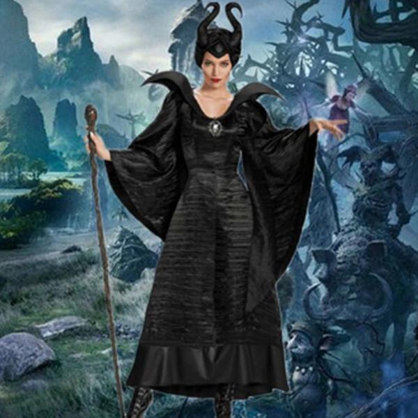 Polyester Yeni Yetişkin Deluxe Maleficent Vaftiz Siyah Kıyafeti Cadılar Bayramı Cadı Cosplay Fantezi Elbise Kostüm Karnaval Parti Giyim Kıyafet