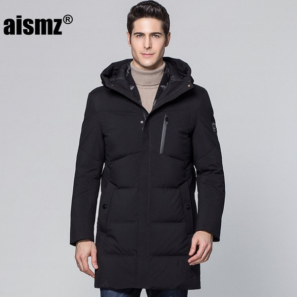 Aismz Winter Jacket Men Casaco Masculino Business Casual Long Warm Duck Down Jackets Scarf Style Waterproof Hooded Coats Thicken