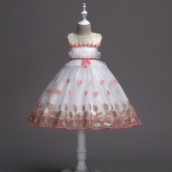 6 STÜCKE Baby mädchen pailletten kleid für kinder hochzeit prinzessin vestidos blume tutu kleider party kostüme