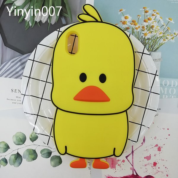 Funny 3D Cute Cartoon Duck Animals Case For iPhone 5 6 7 8 Soft Rubber Silicone Kawaii Shockproof Protective Case Cover For iPhone XS Max XR