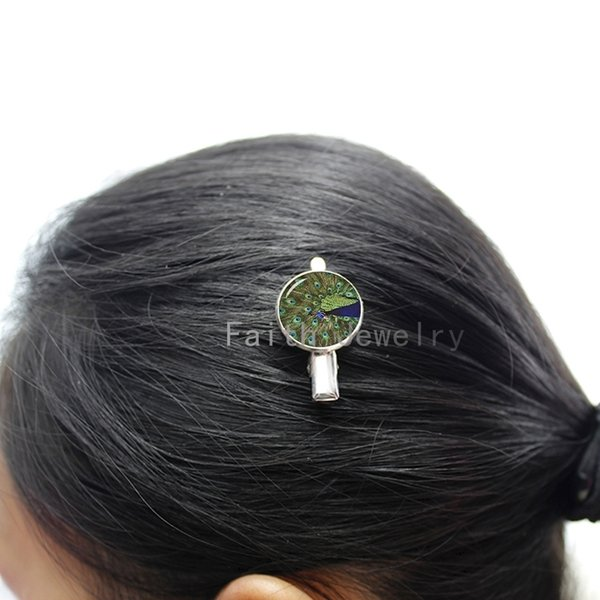 Peacock Birds photo hairgrips pretty charming Peacock Feather image hairpin wedding bride bridesmaid hair clip pins jewelry T484