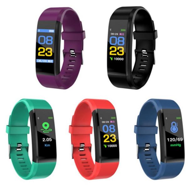 Lcd creen id115 plu mart bracelet fitne tracker pedometer watch band heart rate blood pre ure monitor mart wri tband by dhl