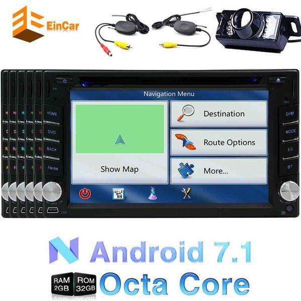 Wireless Camera+6.2'' Android 7.1 Car dvd GPS Navigation Auto Radio Octa-core 2Din Stereo HeadUnit 1024*600 Capacitive Touchscreen Bluetooth