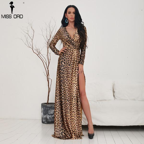ae25b4a9ef5e Missord 2018 Sexy Deep V Long Sleeve Leopard Print Dresses Female High  Split Maxi Elegant Dress