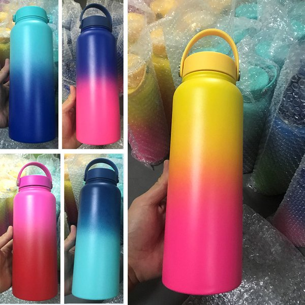Vacuum Water Bottles Insulated Stainless steel tumbler Water Bottle Travel Coffee Mug Cup Handle Mouth Flip Cap Cups 18oz 32Oz 40oz HH7-1350