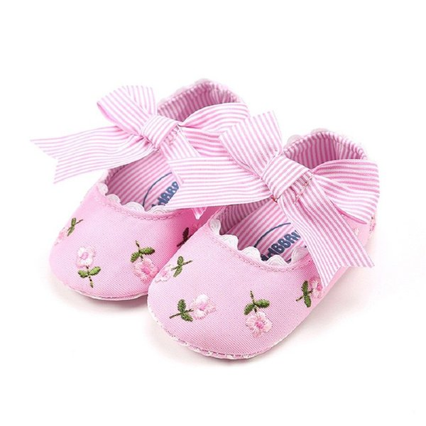 Newborn Toddler Baby Girls kids clothes Floral print striped Soft Sole Leather Bow casual Crib Shoes one pairs