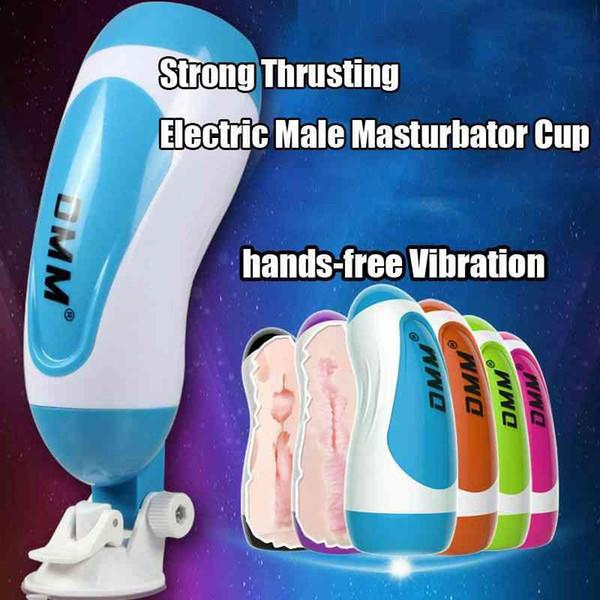 DMM Toque Macho Silicone Masturbators Buceta Com Base de Sucção Ajustável Vibrando Massageador Penis Meninas Asiáticas Vagina Realista