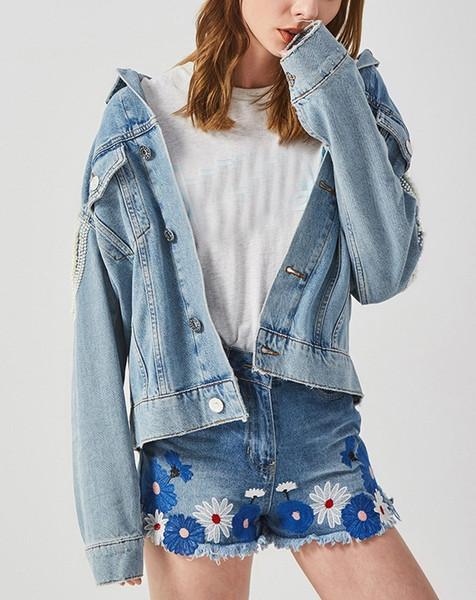 Women Loose Floral Beading Embroidery Basic Jacket Vintage Pearl Jeans Long Sleeve Bomber Denim Jacket