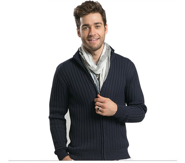 Men Casual Sweaters Stand Collar Christmas Warm Plus Thicken Knitwear Slim Fitted Zippers Cardigans M-3XL High Quality for Men New Arrival
