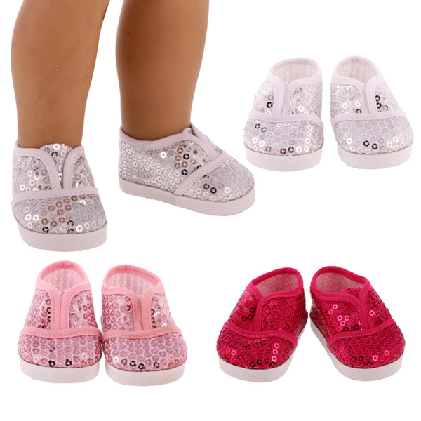 Wholesale Pair Bling Bling Sequin Shoes Sneakers For 18'' American Girl Dolls Fashion Shoes Dolls Outfit Dress Girl Access Doll Accessories For 18