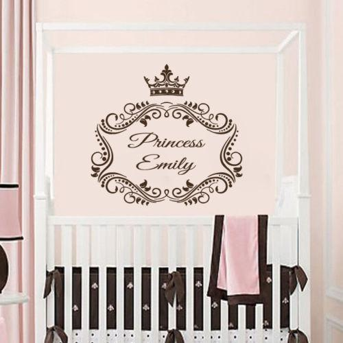 Wall Decals Personalized Name Decal Princess Crown Vinyl Sticker Nursery Name Imperial Crown Wall Sticker Bedroom Girls WW-45