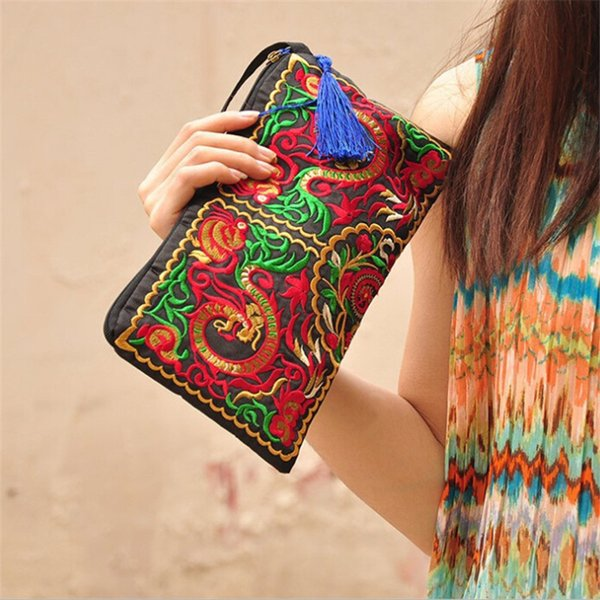 Embroidered Ethnic National Retro Butterfly Flower Bags Handbag Women Coin Purse Lady Clutch Wallet Tassel