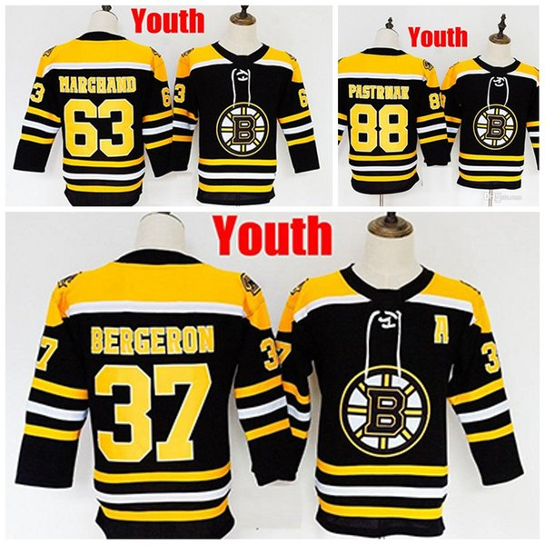 Custom Youth Boston Bruins 37 Patrice 63 Brad Marchand 88 David Pastrnak Kids Any Name Number Maglie cucite