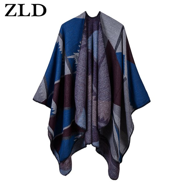 ZLD Fashion New Women Knitted Poncho Cape Stripe Gradient Cardigan Sweater Long Shawl acrylic Scarf Cashmere  bufandas