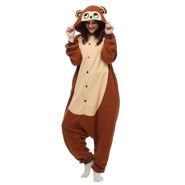 Monkey Women and Men Animal Kigurumi Polar Fleece Costume for Halloween Carnival New Year Party welcome Drop Shipping