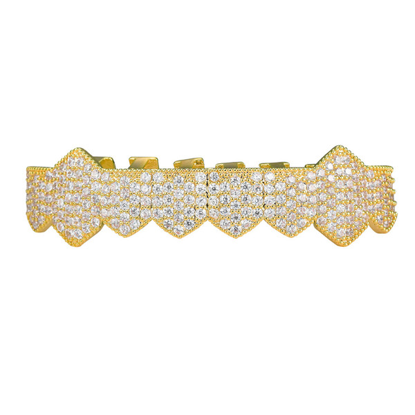 New Arrive Iced Out Vampire Teeth Grillz Gold Silver Plating Micro Pave CZ Stones Mouth Grills fit Upper and Bottom