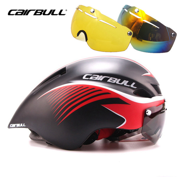 2018 Cairbull Aero TT Bicycle Goggles Helmet Bike Riding In-mold Helmet Magnetic Suction Lens Road Cycling Helmet Casco Ciclismo TK06