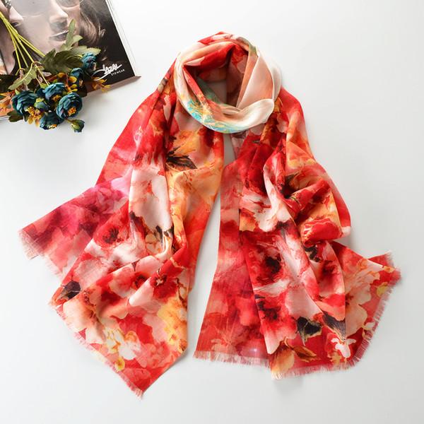 100% Real Wool Shawl Shawls Women Fashion Wrap  High Quality Mujer Bufanda Jacquard Thick Muffler Warm Scarf Scarves